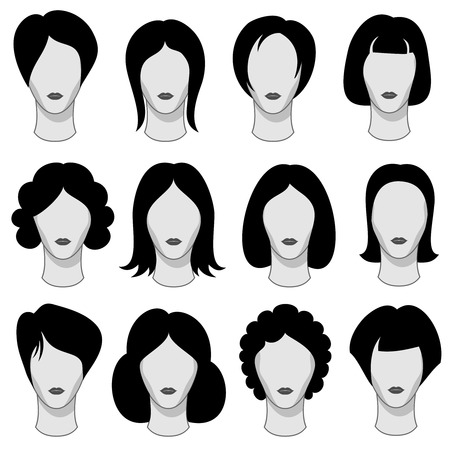 wig: Woman hairstyle black vector hair silhouettes. Wig on head of mannequin illustration