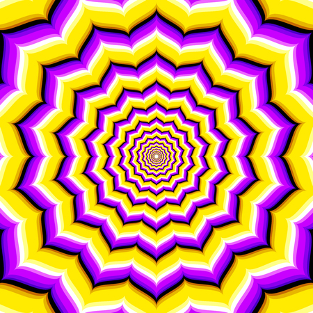 Abstract vector hypnotic optical illusion. Deepening and motion corridor endless illustration Illustration