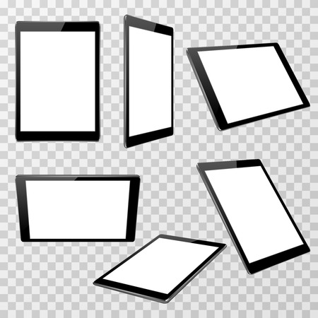 point of view: Realistic black tablet vector template isolated on transparent checkered background in different point of view. Device with touchscreen display illustration