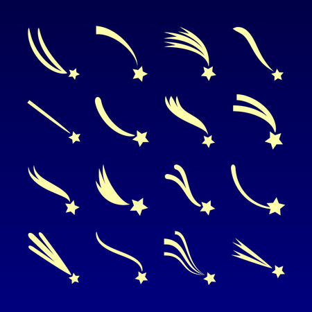 starfall: Shooting star, comet silhouettes vector icons isolated on dark blue background. Meteor falling illustration