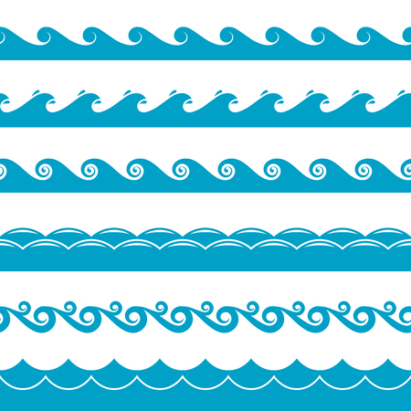 Water waves vector symbols set. Ocean or sea blue wave illustration