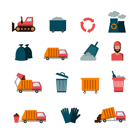 garbage collection: Recycling and waste flat vector icons. Service of garbage collection illustration