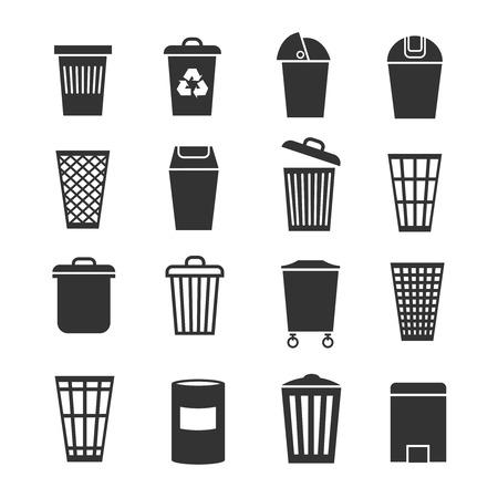 waste basket: Trash can, waste basket, trash bin, garbage vector icons. Dustbin and container, trashcan bucket illustration