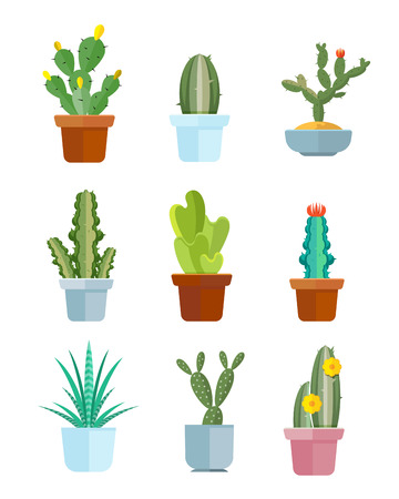 plantas del desierto: cactus de la historieta, desierto iconos vectoriales plantas. Bloom ilustración cactus mexicano Vectores