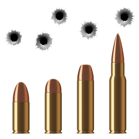 torn metal: Vector shot gun bullets and bullet holes isolated on white background. Gunshot and caliber of weapon bullets illustration