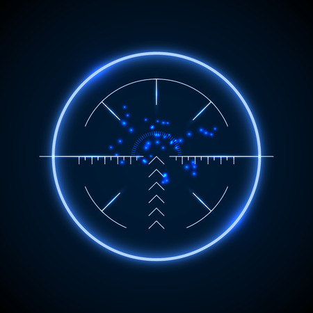 targeting: Accurate sniper scope, neon luminous target vector illustration. Military aiming and targeting optical