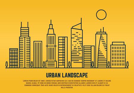 Paisaje urbano en el estilo de vector de línea. Ilustración de la arquitectura del edificio lineal