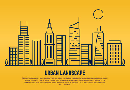 Urban landscape in line vector style. Building architecture linear illustration