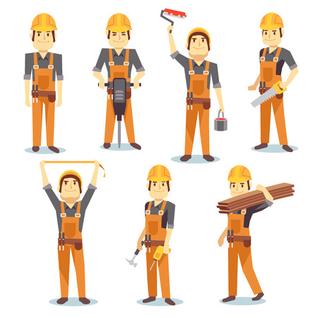 Construction engineering industrial workers working with building tools and equipment vector people character set. Architect and foreman, carpenter and repairman illustration