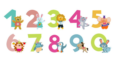 Kids numbers with cartoon animals for education. Vector illustration Illustration