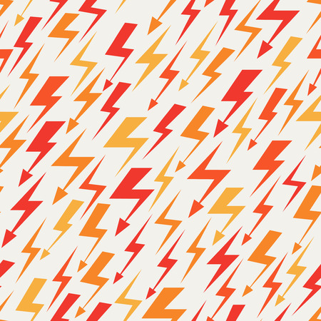 Orange, red and yellow lightnings seamless pattern. Abstract background vector illustration