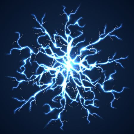 extreme science: Thunder bolts dark vector background. Storm with flash power lightning illustration