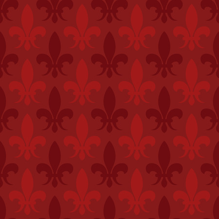 boudoir: Red vector fleur de lis seamless pattern. Background with lily illustration Illustration
