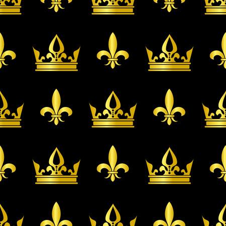 Golden crowns and fleur de lis vector seamless pattern. Queen vintage background illustration