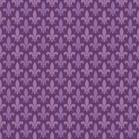 fleurdelis: Purple vector fleur de lis seamless pattern. Baroque background in violet color illustration Illustration