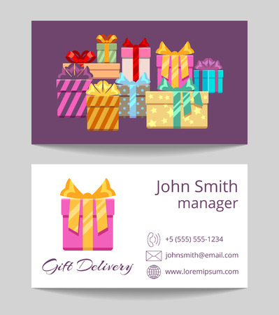 Gift delivery service business card both sides template. Vector illustration