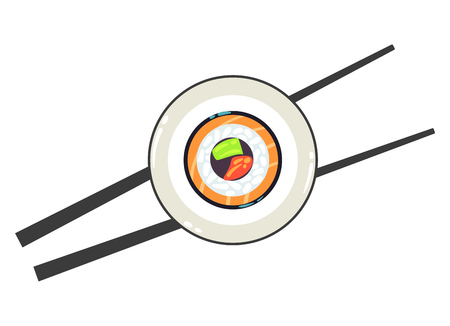 sushi  plate: Sushi on a plate and a pair of chopsticks vector illustration. Chinese restaurant and asia eat