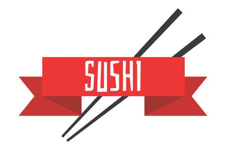 Japanese sushi menu vector illustration template. Chopsticks with red ribbon