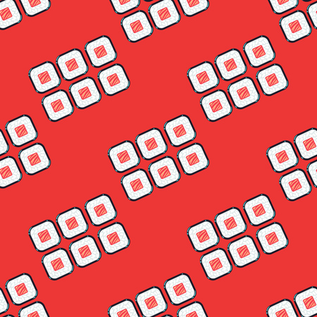 Sushi sets vector seamless pattern red. Japanese food restaurant illustration