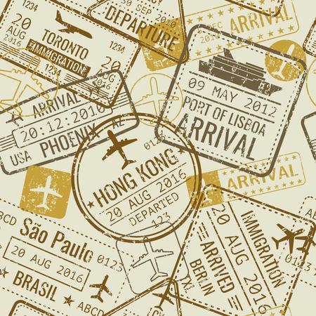 Vintage paszporty podróży paszportów wektorowych bez szwu tle. Turystyka i oficjalne sterowanie w ilustracji lotniska Ilustracje wektorowe
