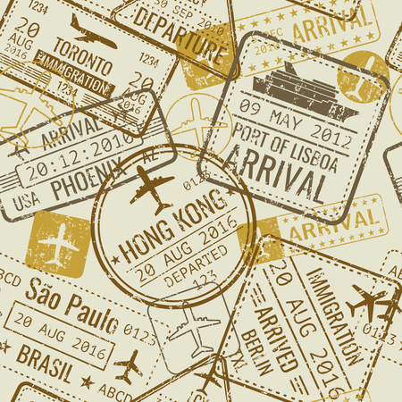 Vintage travel passport stamps vector seamless background. Tourism and official control in airport illustration Ilustração