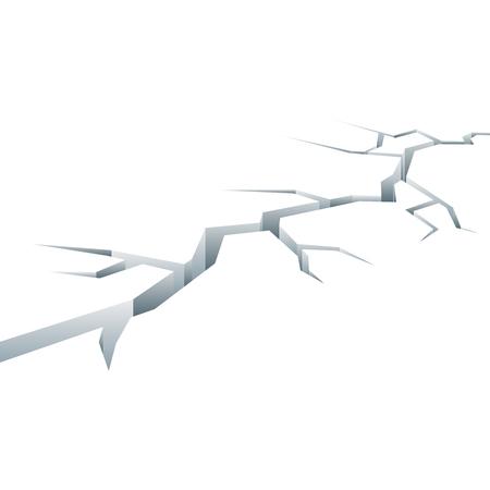 Cartoon gebarsten concrete grond. Split schade na aardbeving, vector illustratie