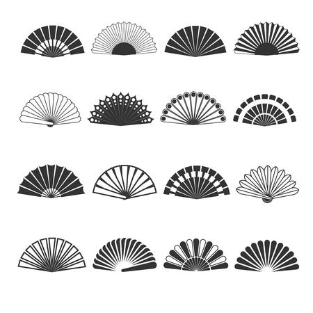 Mano icone ventilatore vettoriali. Oriental eleganza souvenir, pieghevole illustrazione accessorio orientale