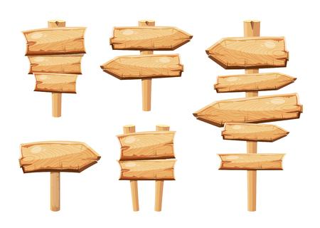 Vecchie tavole di cartone segno di cartone animato in bianco isolato su bianco vettore raccolta. Tabella freccia oggetto e tavola di legno billboard illustrazione