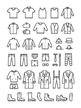 slip homme: Mens clothing, male fashion line vector icons set. Man cloth, shoes and coat, hat and underwear illustration