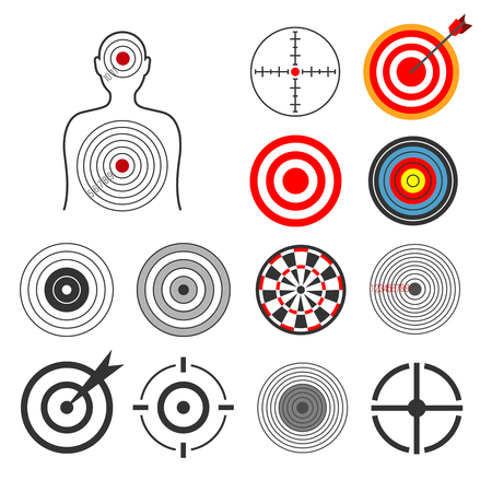 shooting at goal: People, animals, dart, silhouette shooting target vector set. Goal and center aim, success concept illustration Illustration