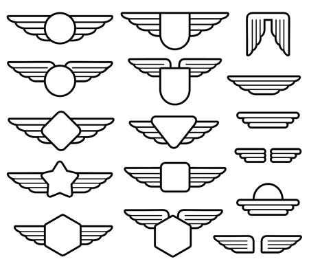 emblemas de las alas del ejército, insignias, etiquetas de aviación piloto del conjunto de vectores línea. Escudo con alas ilustración insignias