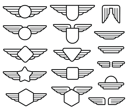 pilot wings: Wing army emblems, aviation badges, pilot labels line vector set. Shield with wings insignia illustration