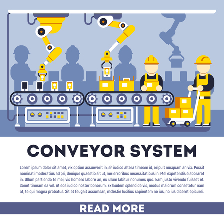 conveyor system: Conveyor system with manipulators vector flat concept. Process production illustration