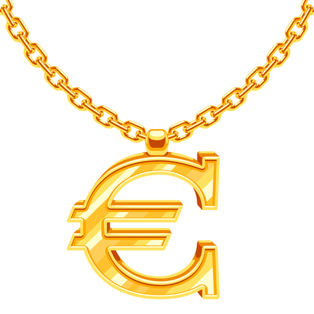 Gold necklace chain with euro symbol vector illustration. Gold finance value, european currency Illustration