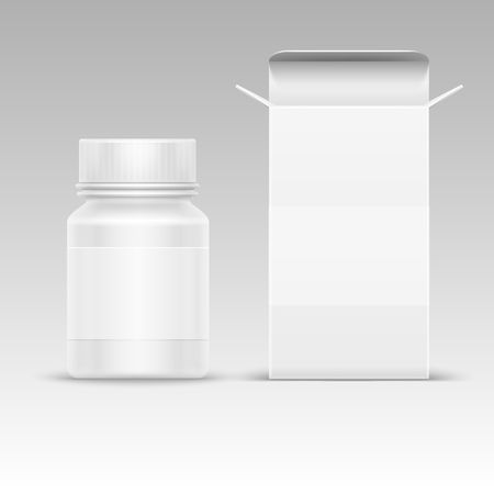 white pills: Medical blank packaging paper box and medicine plastic bottle for pills isolated on white vector illustration. Mockup of container for tablet and drug Illustration