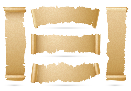 Vertical and horizontal old paper scroll ribbon banners vector set. Piece of papyrus torn strip illustration