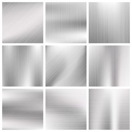titanium: Silver, steel, titanium, aluminium metal vector brushed textures. Metallic surface material illustration