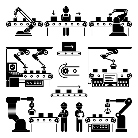 Conveyor production manufacturing line and workers vector icons. Black silhouette process automation on factory illustration Vettoriali