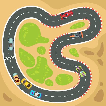 Corsa computer e gioco app vettoriale con vista superiore auto sportive e pista. Interfaccia per gioco di sport per l'illustrazione smartphone