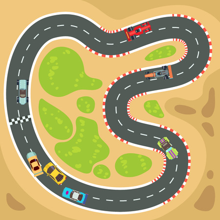 Racing computer en app spel vector achtergrond met bovenaanzicht sport auto's en race track. Interface voor sportspel voor smartphone illustratie