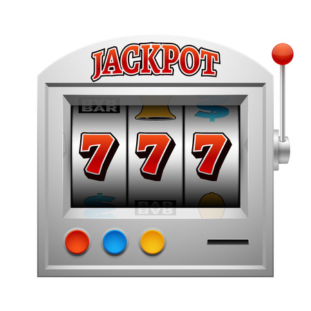 slot in: Casino slot gambling machine vector lucky and win concept. Jackpot in gamble game illustration