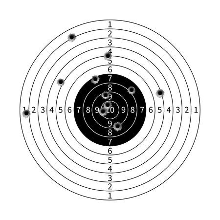 gun holes: Gun target with bullet holes vector illustration. Success shot in aim Illustration
