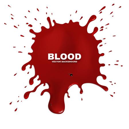 ink stain: Red blood splatter vector grunge background. Stain of paint, artistic spot ink illustration