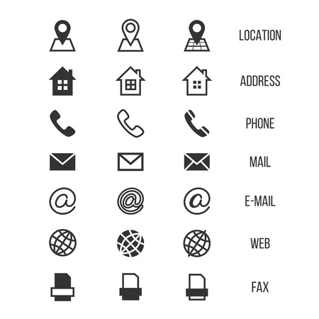 Business card vector icons, home and phone, address and telephone, fax and web, location symbols. Contact of telephone for communication illustration Ilustração