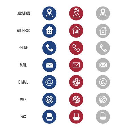 Símbolos vectoriales para tarjeta de negocios aislados sobre fondo blanco. Elemento de comunicación correo electrónico y teléfono ilustración