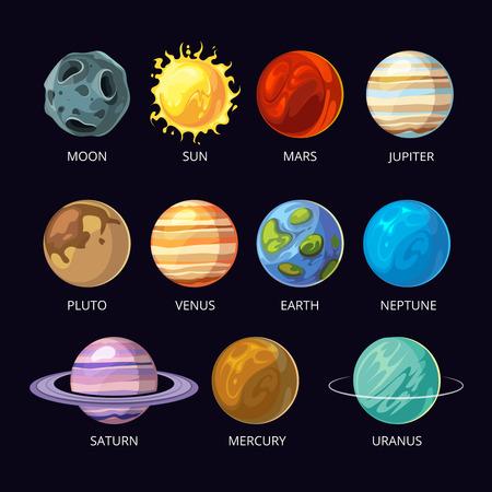 Planets of solar system vector cartoon set on dark sky space background. Mars and pluto, neptune and venus, uranus and saturn illustration  イラスト・ベクター素材