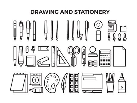 オフィス文房具と描画ツールはラインのアイコンです。鉛筆、ペン、マーカーと絵筆。ベクトル図