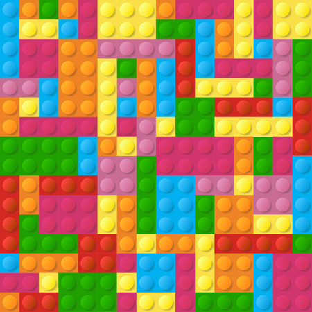 Colored plastic bricks seamless vector pattern. Game constructor structure for development illustration