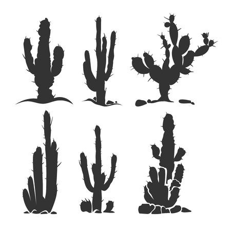 plantas Desert cactus vector de la silueta aislado en blanco. ilustración monocromo de la planta
