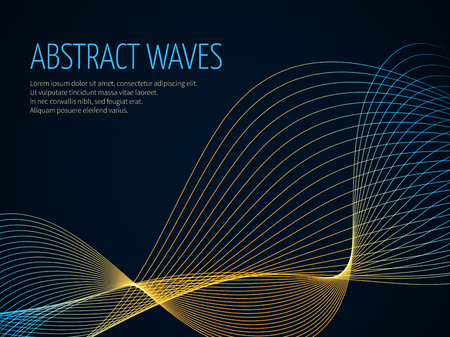 Futuristic abstract vector background with 3D illuminated sound wave. Banner and poster with color wavy structure illustration